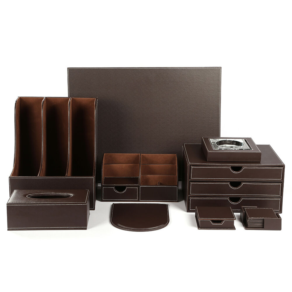 Wholesale 9pcs set leather wooden office desk organizer - Black leather desk organizer ...