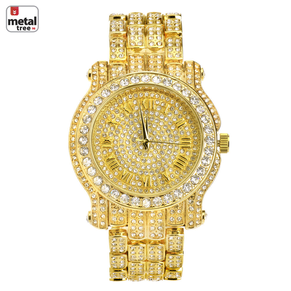 Rapper hip hop fashion iced out 14k gold plated heavy for Rapper watches
