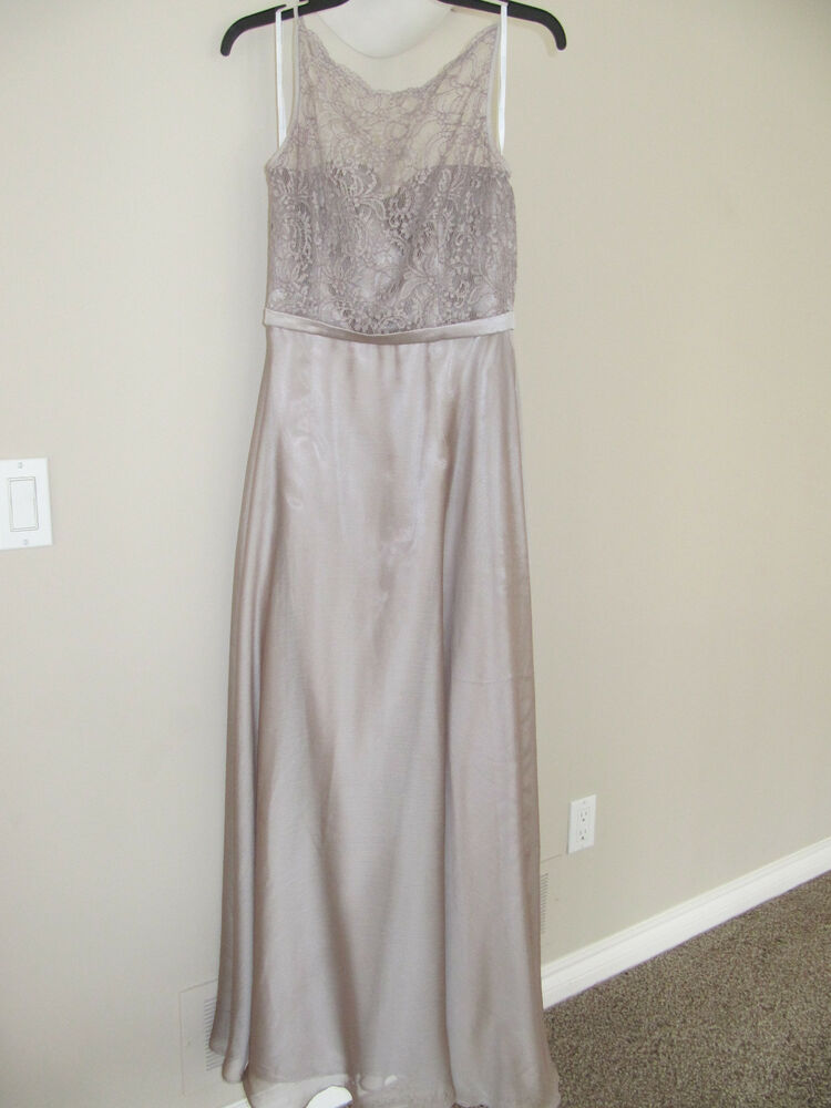 Belsoie bridesmaid champagne taupe lace top long gown for Taupe lace wedding dress