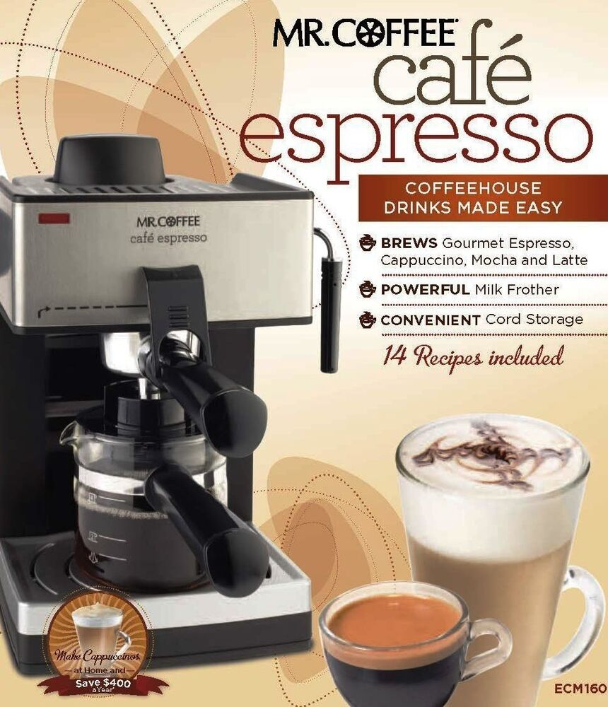 new mr coffee steam espresso machine with frothing cappuccino latte nozzle cafe 885909727360 ebay. Black Bedroom Furniture Sets. Home Design Ideas