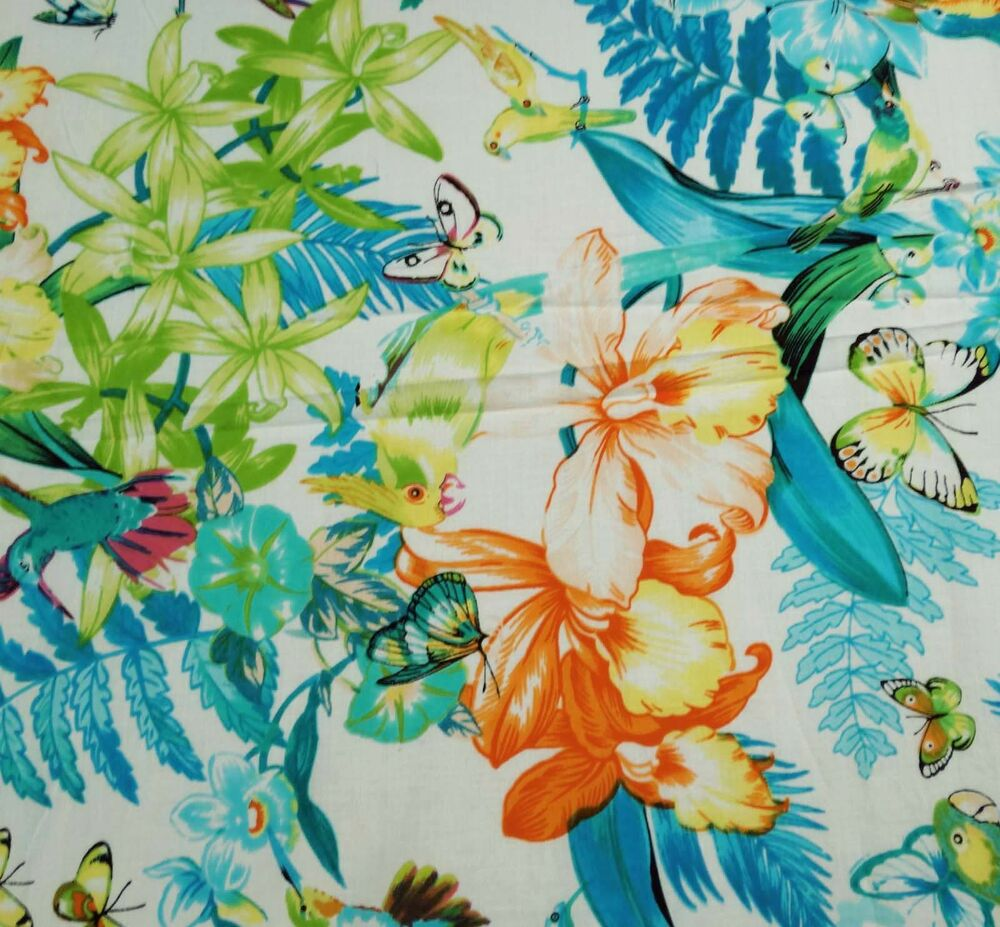 Cotton white floral print fabric designer 42 wide for Apparel fabric