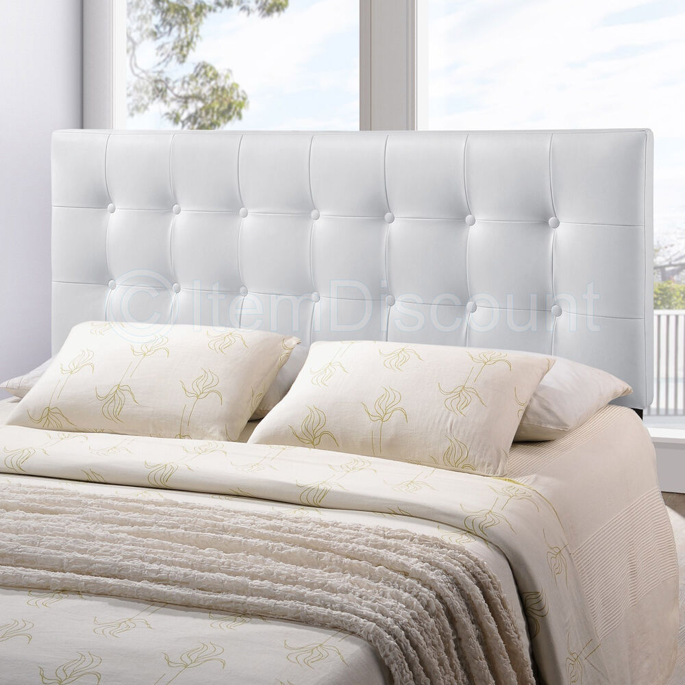 queen white button tufted leatherette vinyl upholstered bed headboard modern ebay. Black Bedroom Furniture Sets. Home Design Ideas