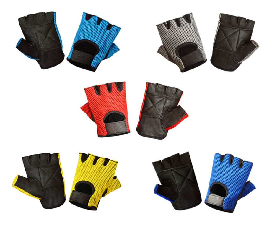 Mesh Weight Lifting Gloves: LEATHER MESH FINGERLESS WEIGHT LIFTING EXERCISE GYM