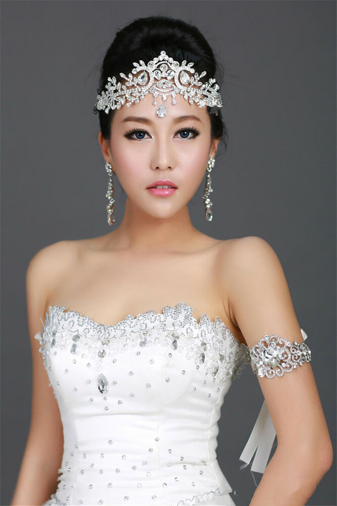 Wedding Bridal Crystal Rhinestone Silver Headband Hair ...