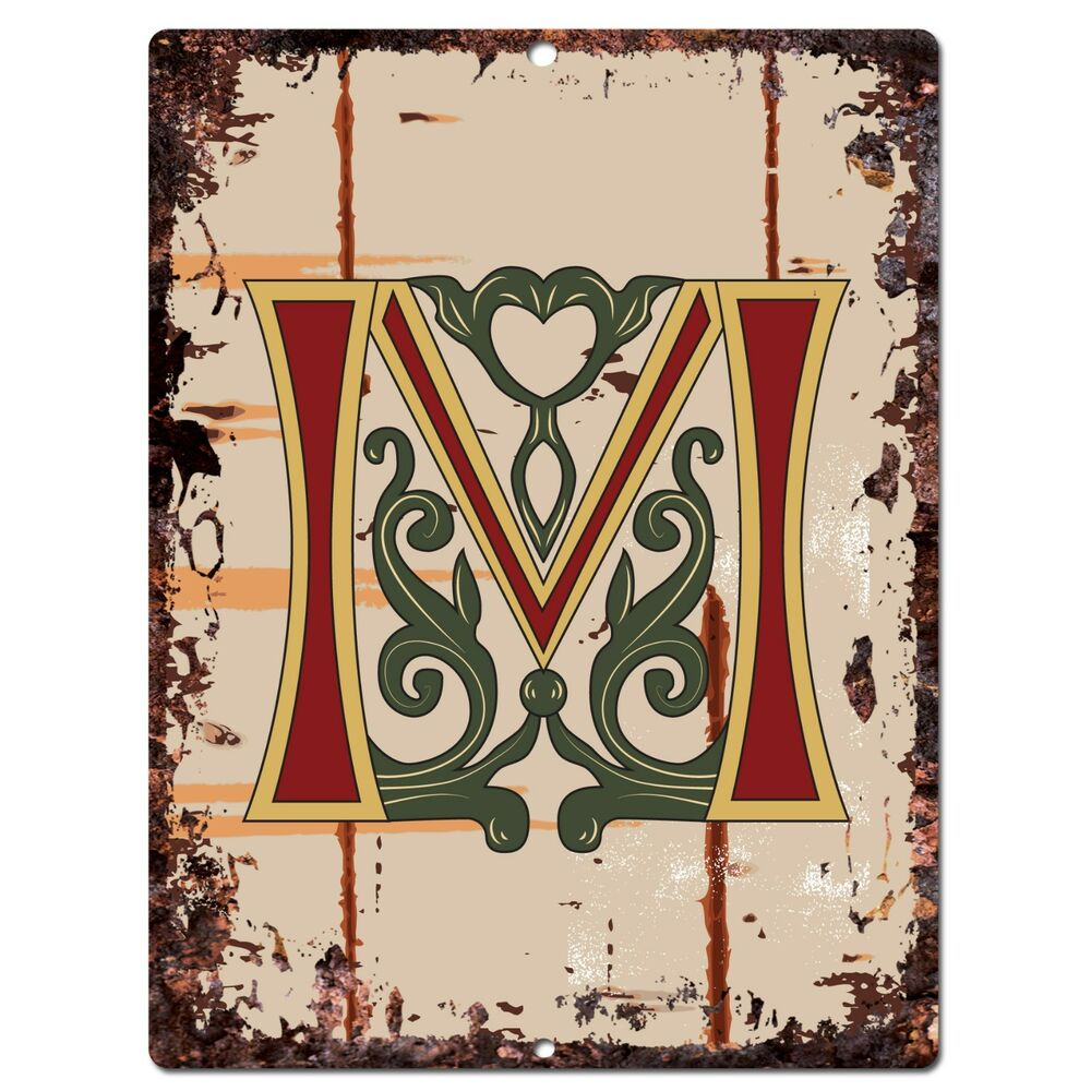 pp0521 alphabet medieval initial letter m chic sign bar