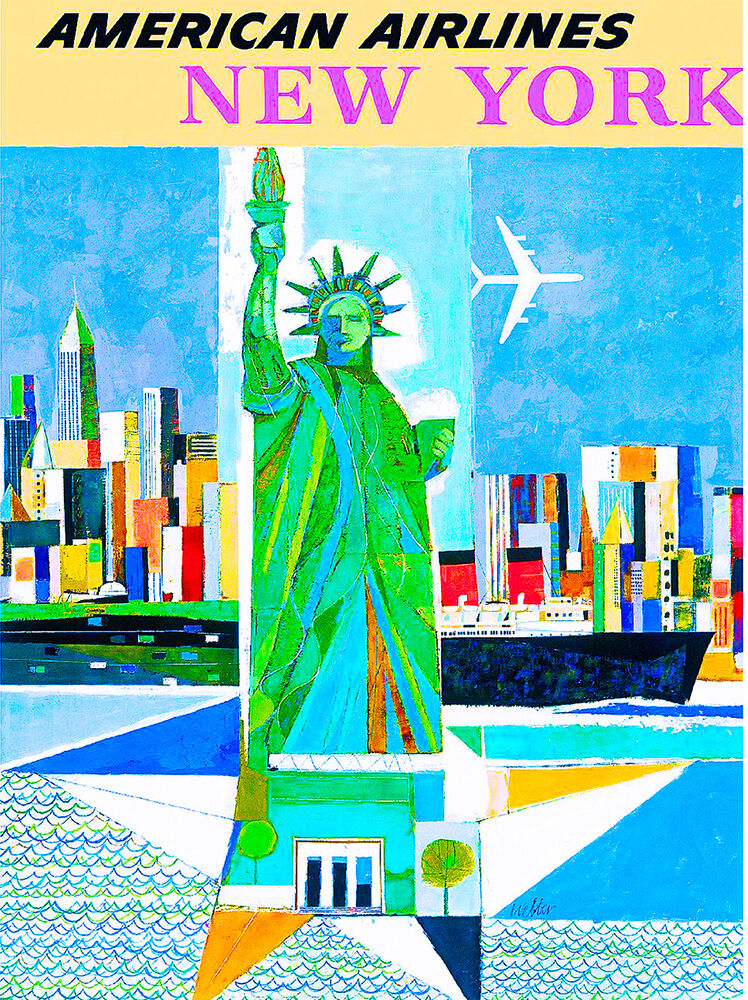 new york city statue liberty vintage united states travel advertisement poster ebay. Black Bedroom Furniture Sets. Home Design Ideas