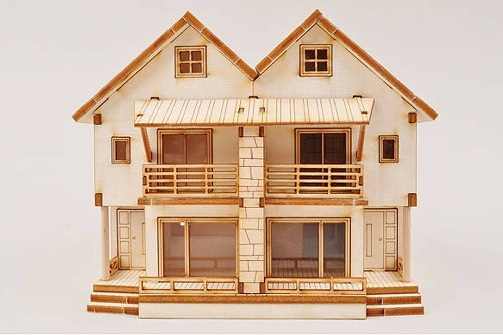 3d duplex wooden house model kit ho scale 1 87 miniature for Building model houses