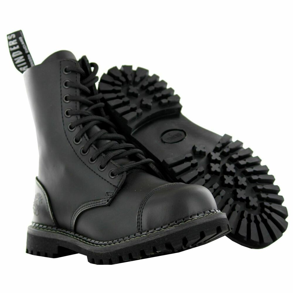 grinders stag cs derby matt finish black lace up leather