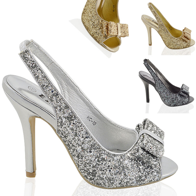 9c5cca6055f Details about Womens Stiletto High Heel Sparkly Ladies Slingback Bridal Prom  Sandals Shoes
