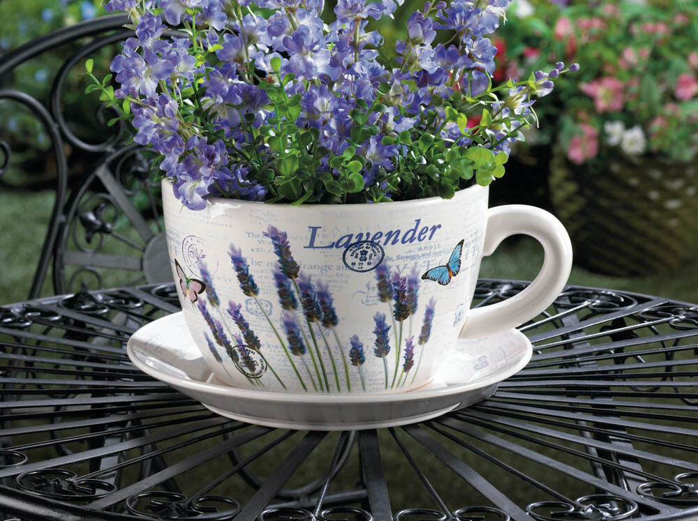 Giant Lavender Tea Cup And Saucer Ceramic Planter H16 5cm