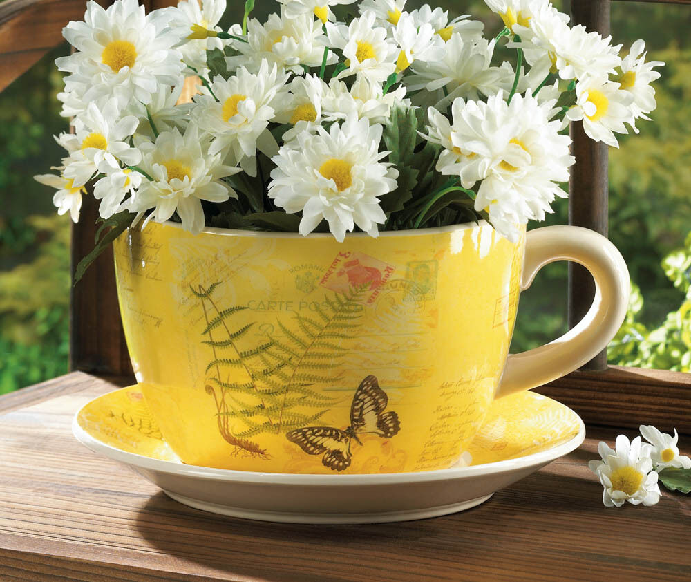 Giant Garden Butterfly Yellow Tea Cup And Saucer Ceramic Large Planter Ebay