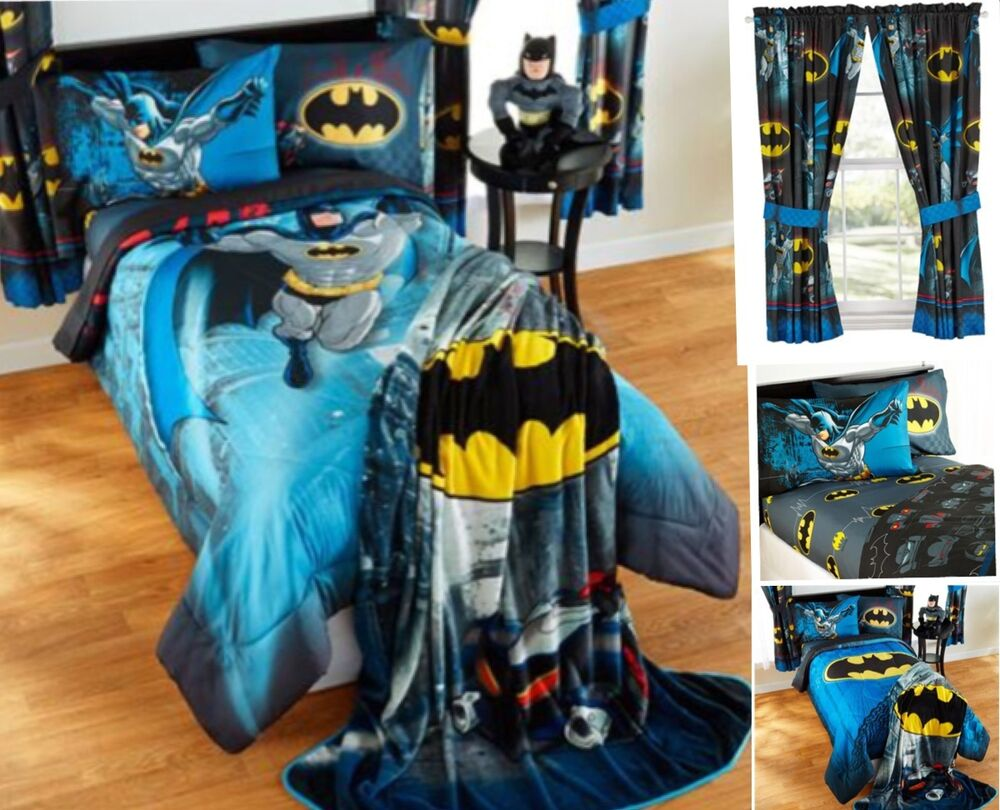 9pc Dc Comics Batman Full Double Comforter Sheets Curtains