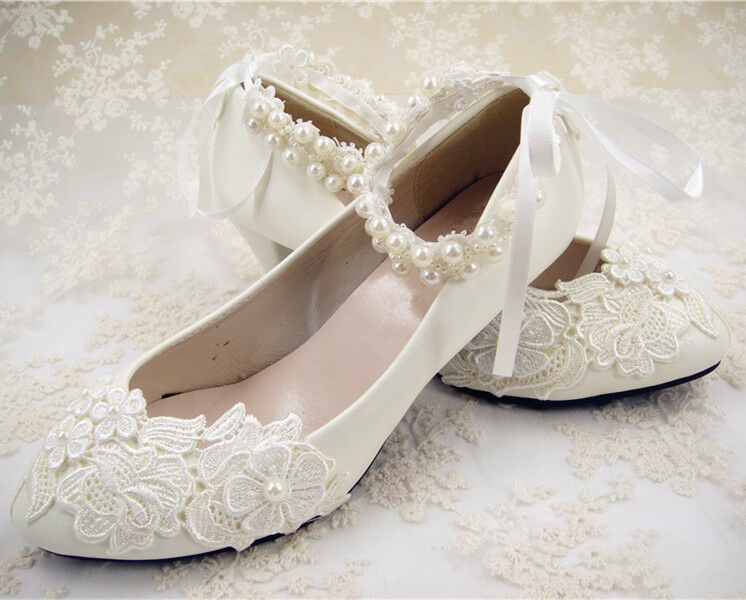 Handmade Off White Lace Bridal Shoes Flat Ankle Strap Wedding Shoes UK3 65
