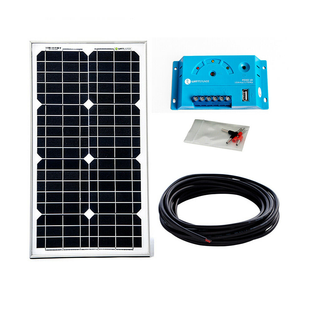 30w solar bausatz 12v komplett set solaranlage garten inselanlage weidezaun ebay. Black Bedroom Furniture Sets. Home Design Ideas