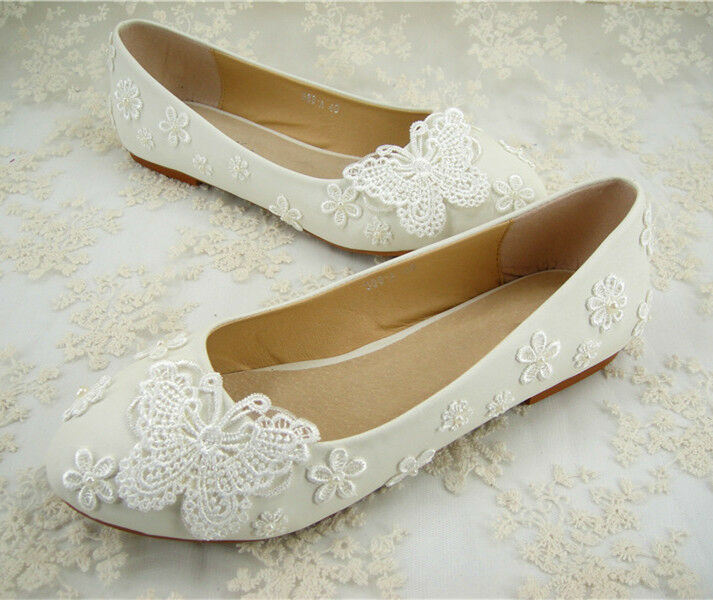 Handmade White Flat Pearl Lace Bridal Shoes Floral Beaded