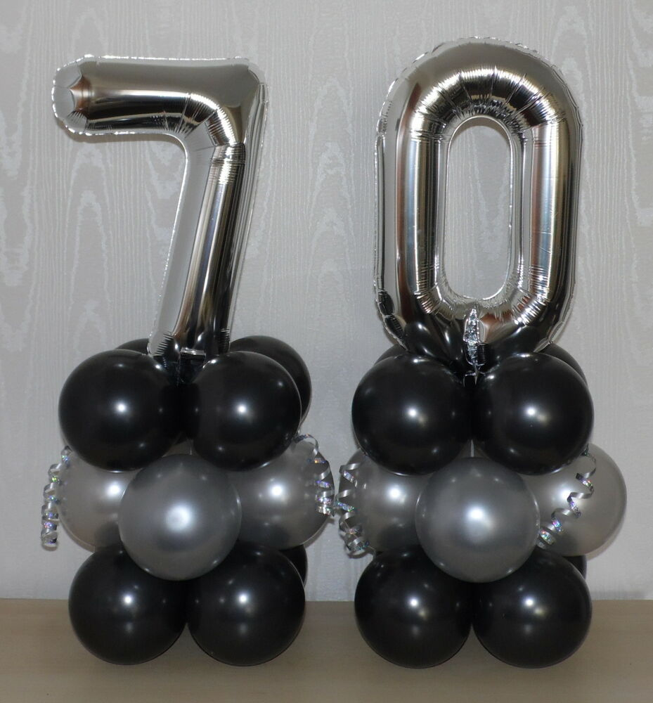 70th Birthday Age 70 Silver Foil Balloon Display