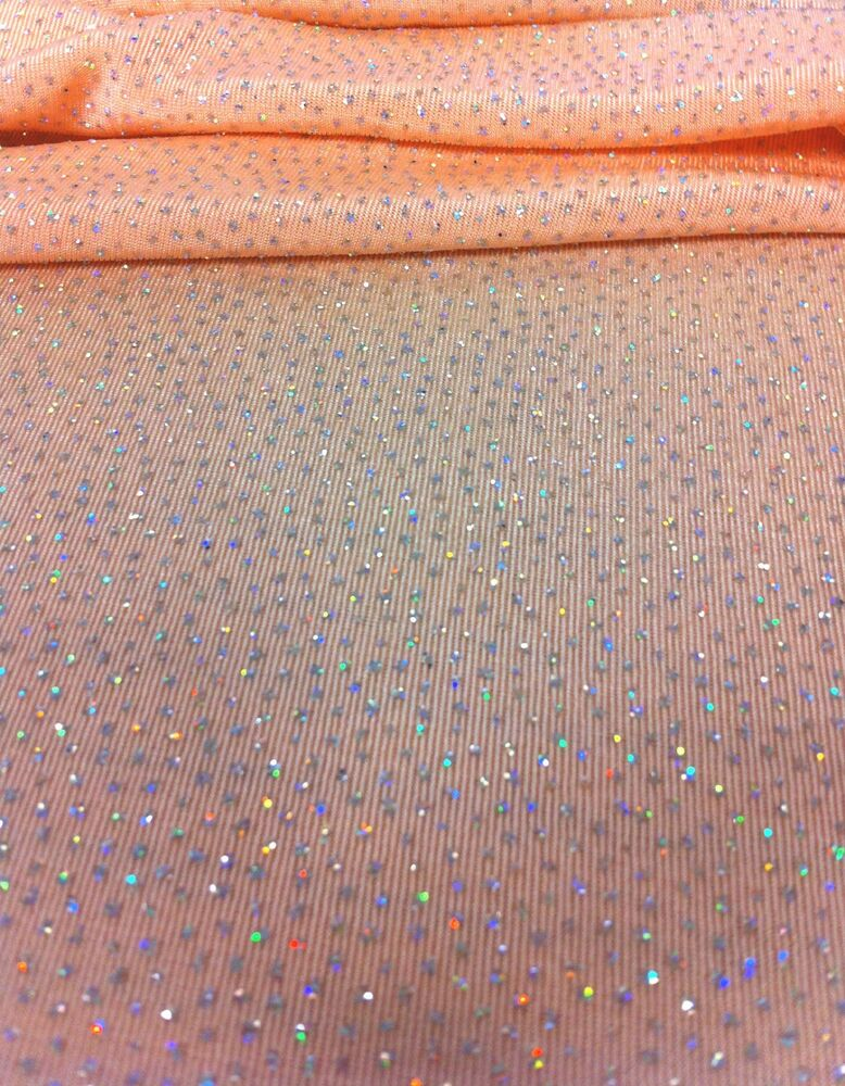 Iridescent Silver Glitter Dots On Peach Stretch Polyester