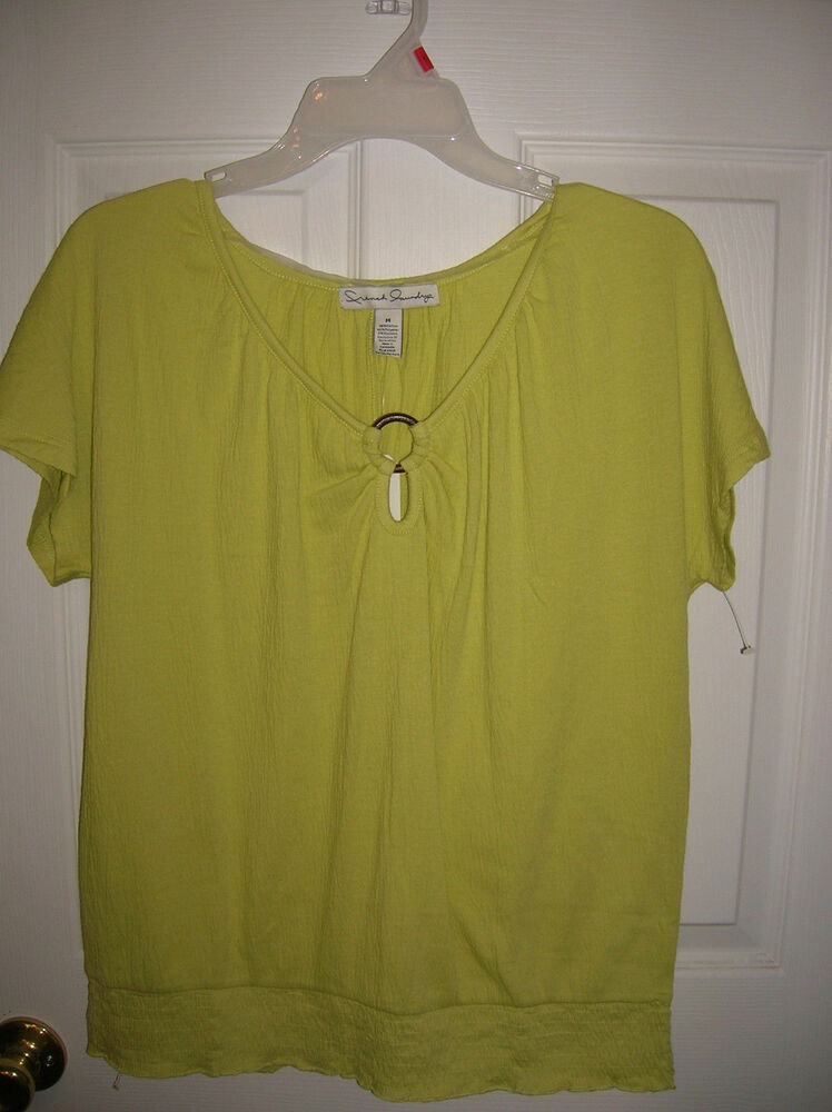 Womens shirt green short sleeve french laundry s m l 18 for French cut shirt sleeve