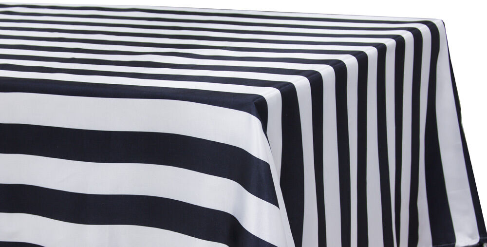 12 Black White Striped Satin Tablecloths 60 X126