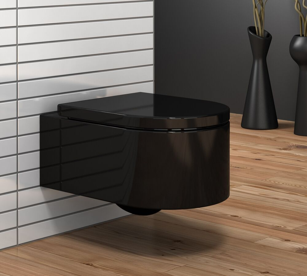 schwarze donna wand h nge wc toilette mit softclose sitz ebay. Black Bedroom Furniture Sets. Home Design Ideas