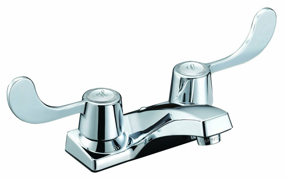 4 Inch Two Handle Polished Chrome Bathroom Handicap Faucet