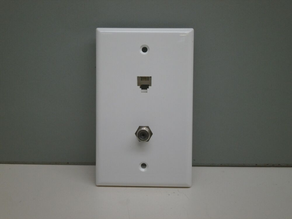 Cable Wall Plate : Premier telephone phone jack and tv coaxial cable