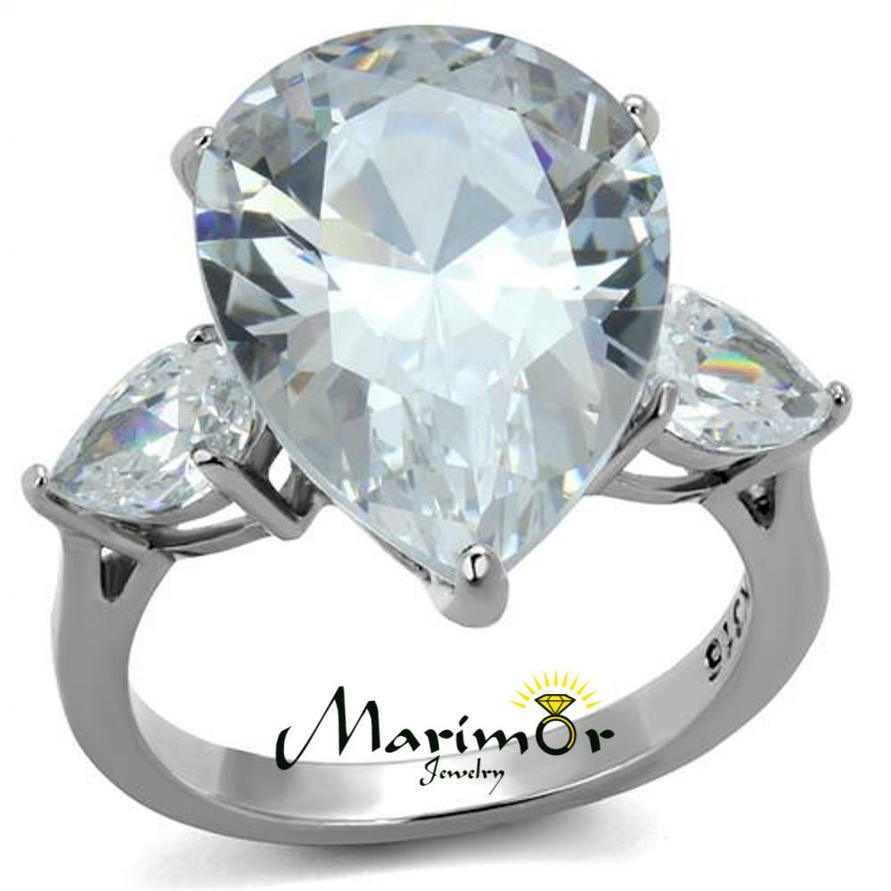 Womens 11 83ct Pear Shape Cubic Zirconia Stainless Steel Engagement Ring Sz 5 10 Ebay