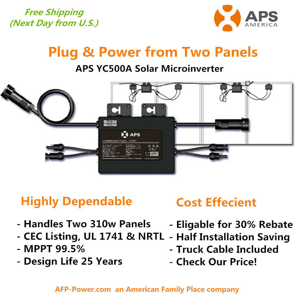 Aps Yc500a Microinverter For Upto Two 310w Solar Panels