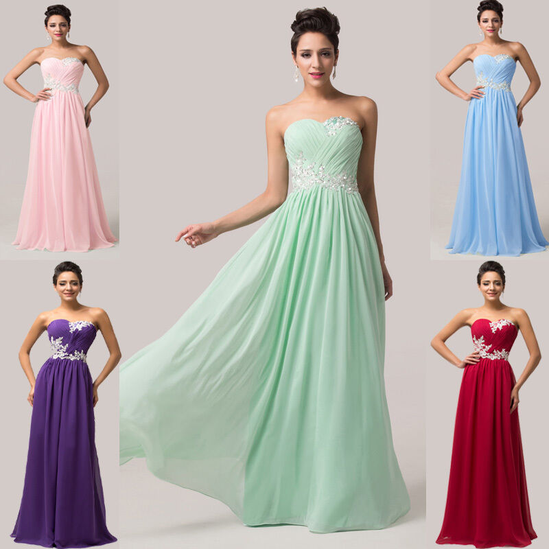 Cheap Ball Gown Wedding Dresses: CHEAP Long Prom Dresses Bridesmaid Party Formal Evening