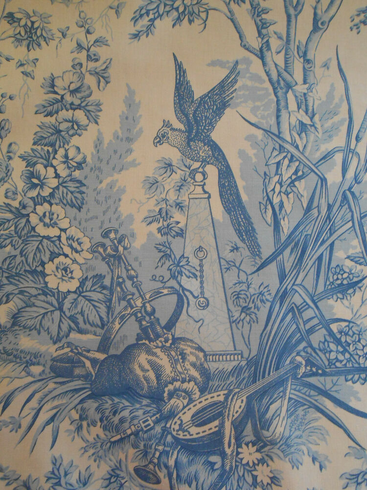 rare vintage french fabric by marius boudin jouy chinoiserie toile 3 6 yard ebay. Black Bedroom Furniture Sets. Home Design Ideas