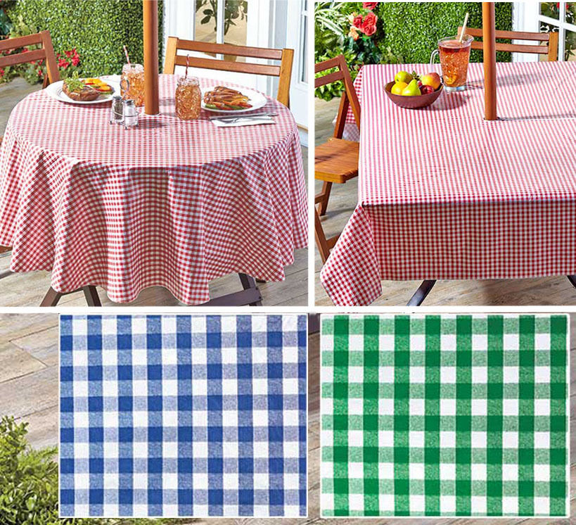 "Patio Umbrella Covers With Zipper: Gingham Umbrella Hole Zipper Patio Tablecloth 70"" Round Or"