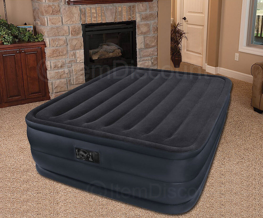 22 queen raised air bed mattress inflatable electric pump. Black Bedroom Furniture Sets. Home Design Ideas