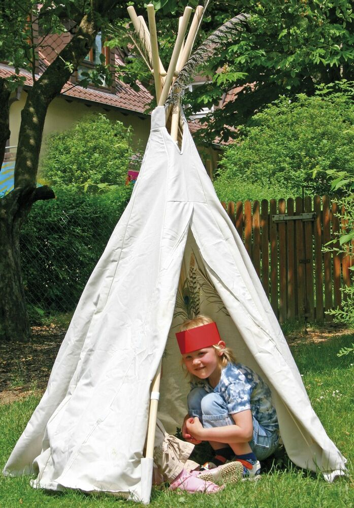 kinder tipi wigwam indianerzelt 165 mit holz stangen und baumwollstoff 110 069 ebay. Black Bedroom Furniture Sets. Home Design Ideas