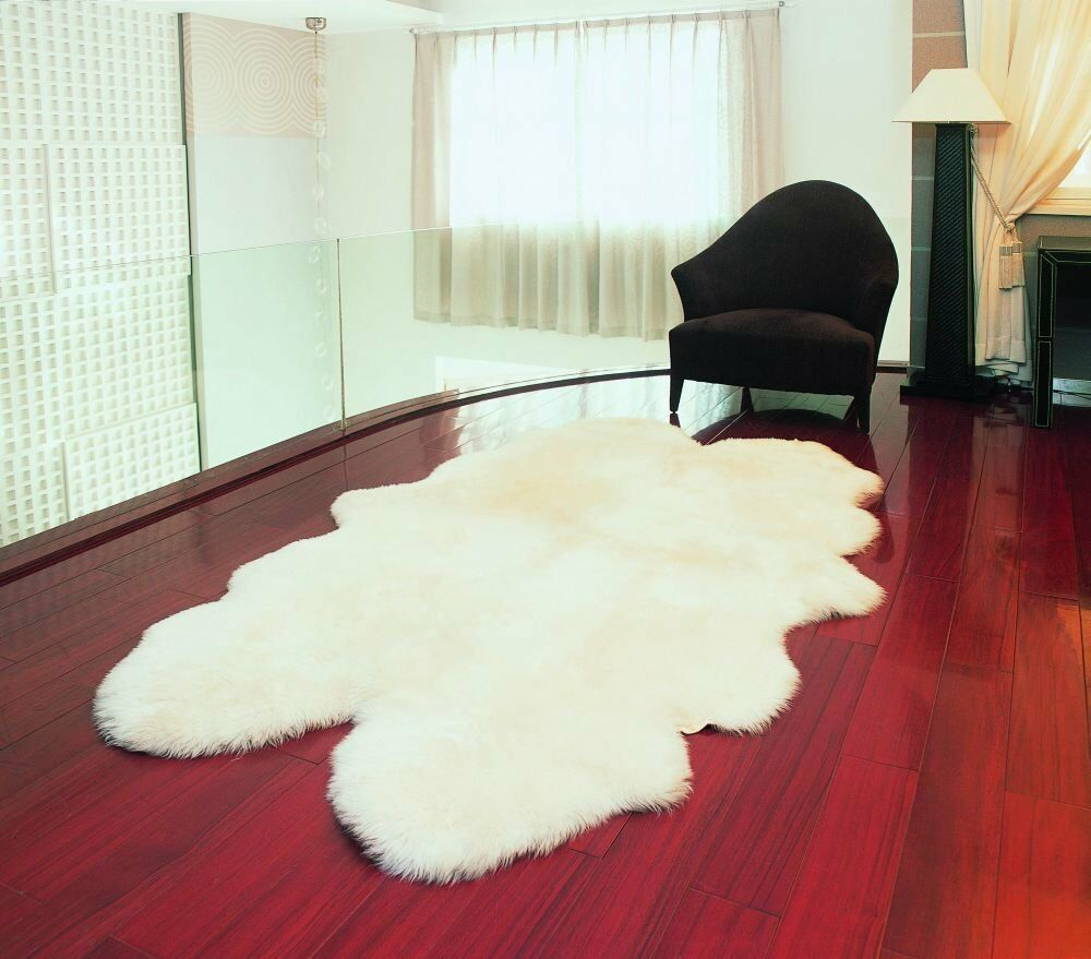 Bowron Genuine Sheepskin Rug Four Pelt Natural White Ivory