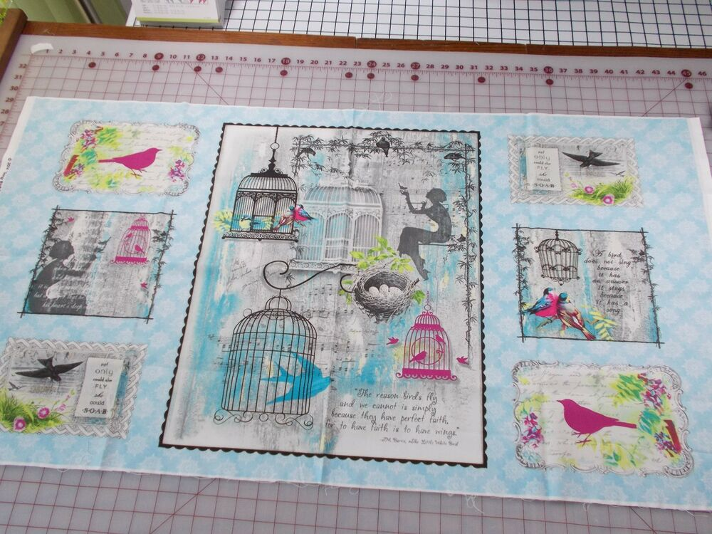 Song Birds Panel Quilting Fabric Shabby Chic French