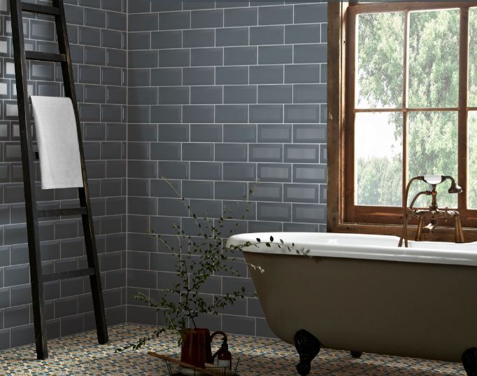 blue kitchen wall tiles metro blue grey bevelled brick kitchen 4834