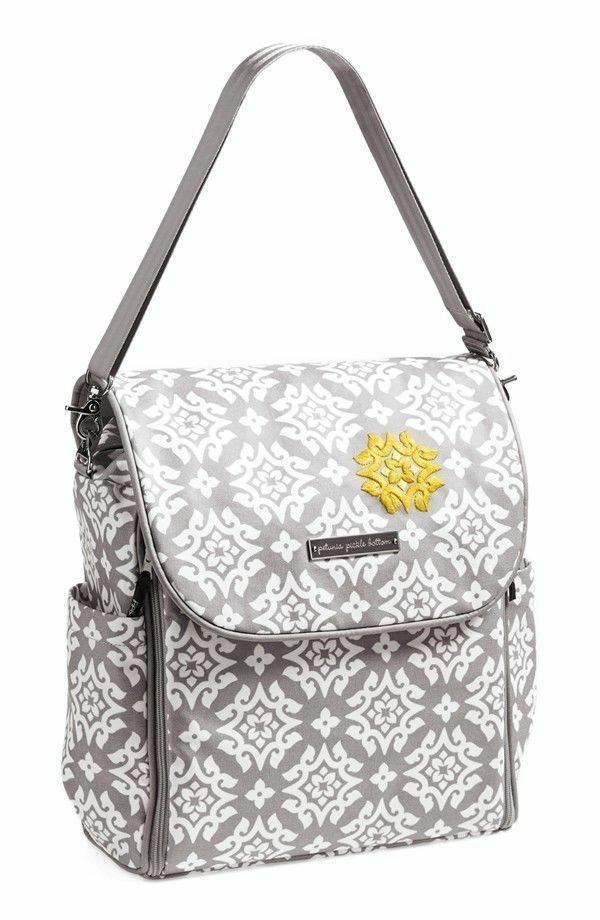 nwt petunia pickle bottom boxy coated cotton canvas backpack diaper bag gray ebay. Black Bedroom Furniture Sets. Home Design Ideas