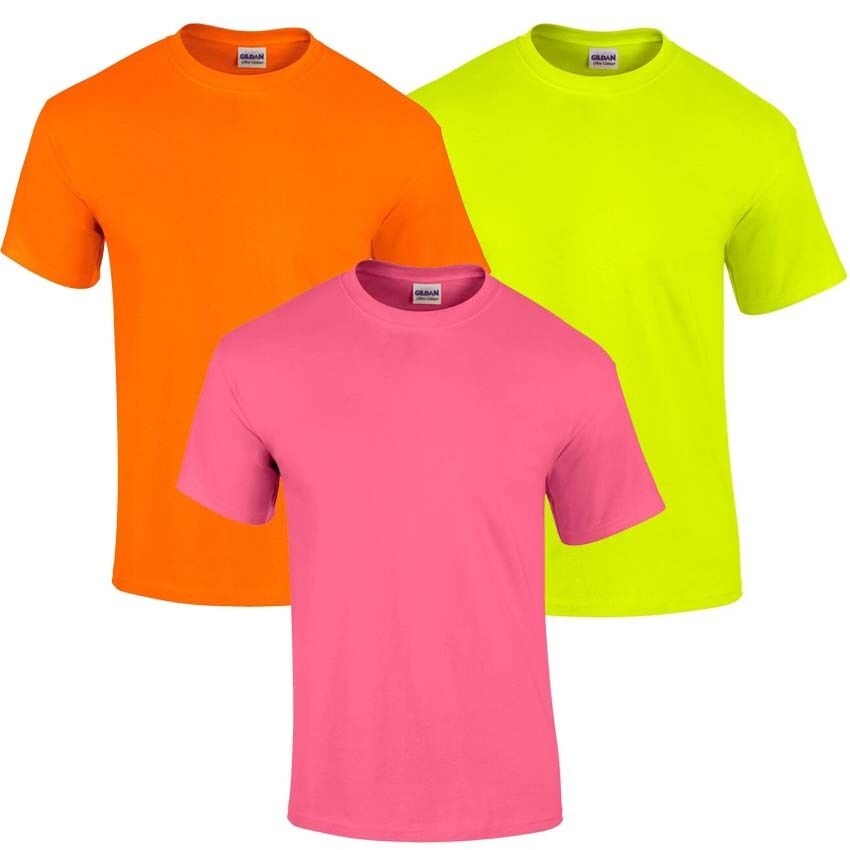 Plain Cotton Gildan Fluorescent Neon Safety Pink Yellow ...