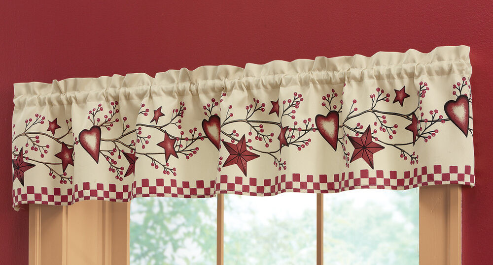 Country Heart Star Window Valance Inhand Kitchen Berry Branch Rustic Primitive Ebay