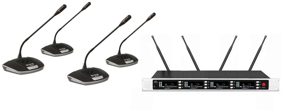 professional uhf four channels conference wireless lecturn