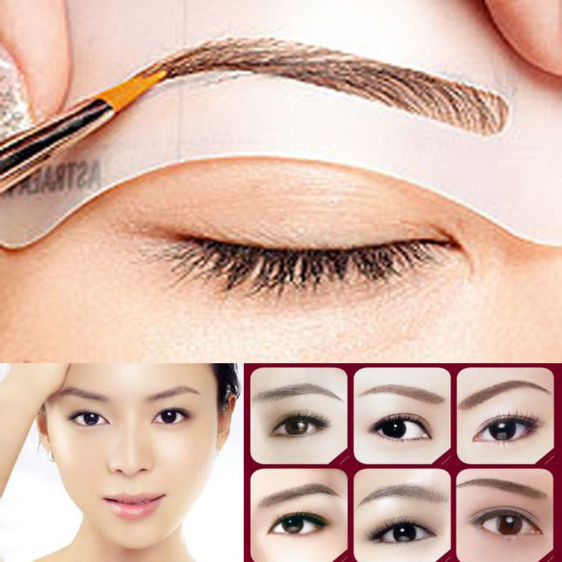 4 Styles Eyebrow Template Set Stencil Kit Makeup Shaping Diy Tool