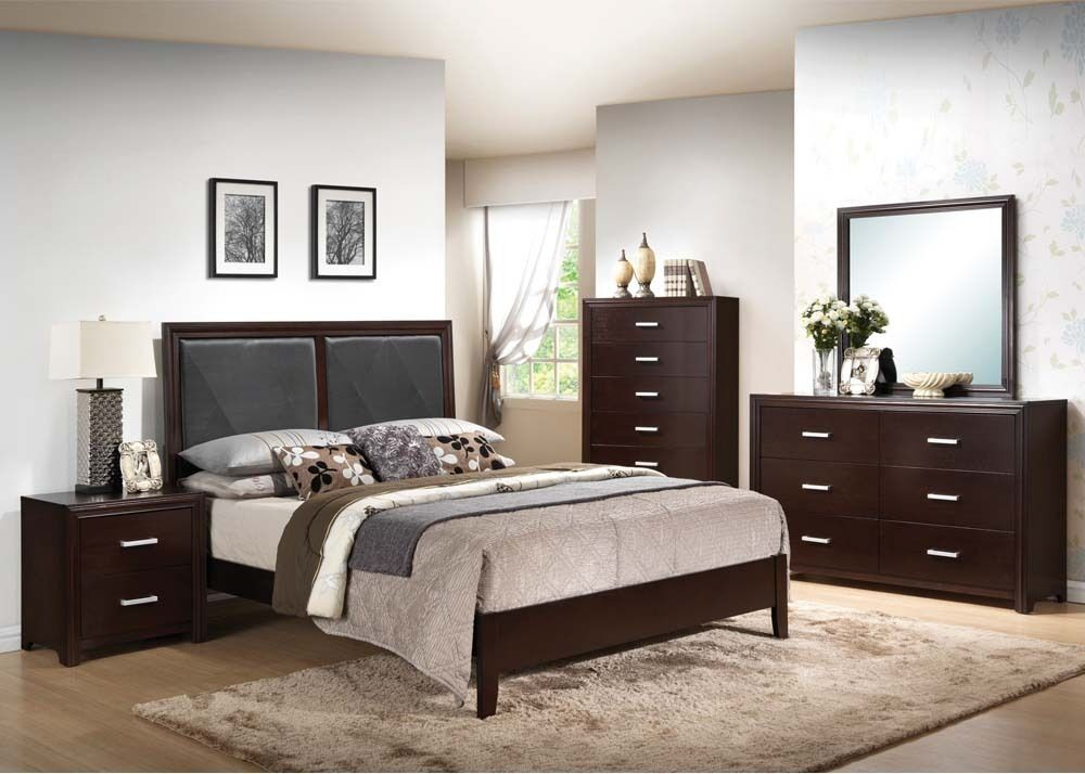 espresso finish black 4pc bedroom set queen king bed mirror dresser