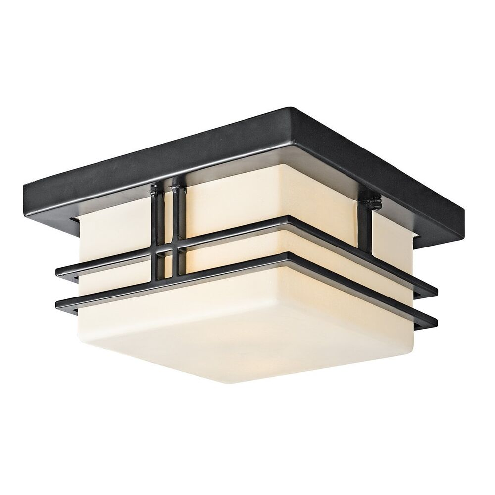 Kichler 49206bk tremillo 2 light outdoor flush mount for Front entrance light fixtures