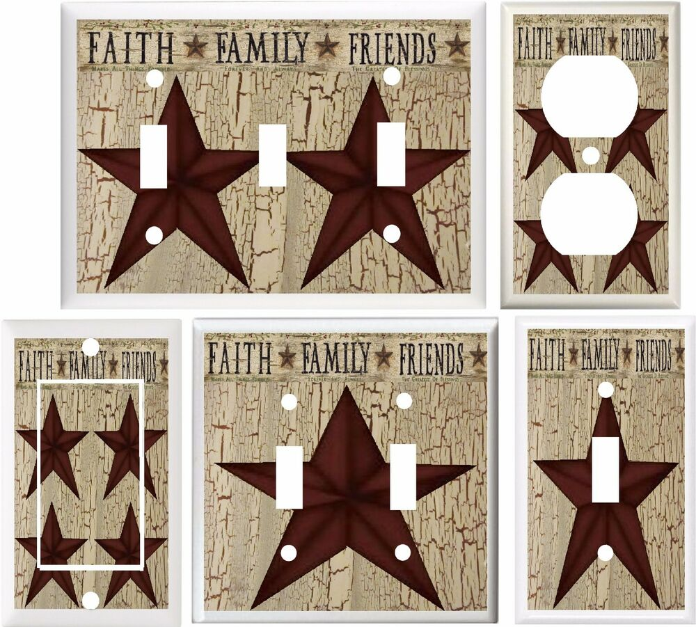 Country Barn Star Faith Family Friends Light Switch Cover