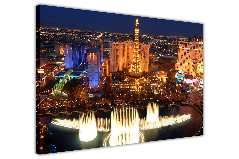 las vegas city photos framed canvas prints wall art pictures home deco images ebay. Black Bedroom Furniture Sets. Home Design Ideas