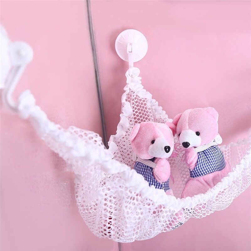 Hanging toy hammock net to organize stuffed animals dolls for Hanging toy net