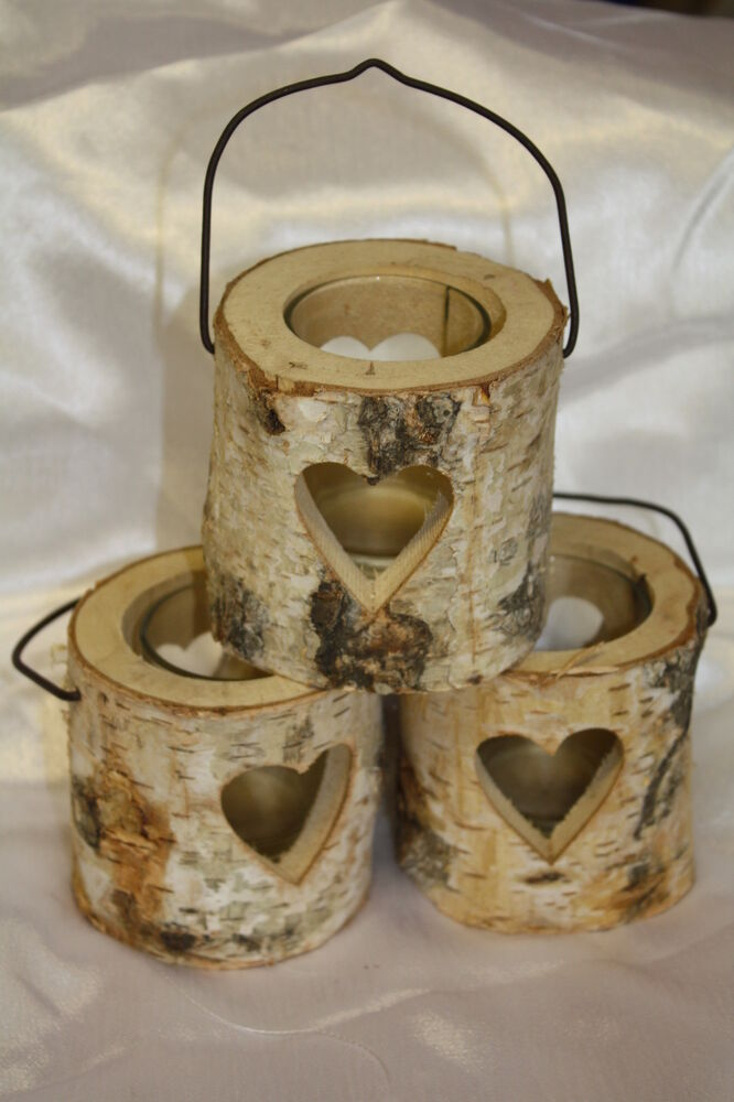 wooden rustic round bark tealight candle holder with cut out heart design ebay. Black Bedroom Furniture Sets. Home Design Ideas