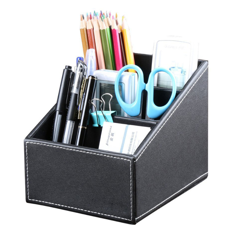 Richblue 3 slot leather desk stationery organizer remote control holder pen box ebay - Desk stationery organiser ...