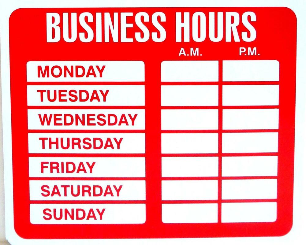 Business hours sign for shop store window with vinyl decal for Open closed sign template