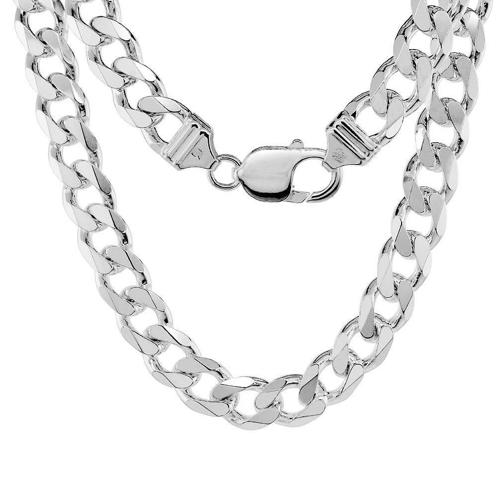 Sterling Silver 9mm Heavy Italian Cuban Curb Link Chain